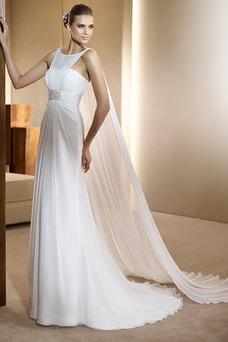 Robe de mariée Romantique Crystal Floral Pin Rectangulaire Col ras du Cou