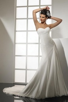 Robe de mariée Simple Milieu Sans Manches Col en Cœur Mousseline Ouverture Latérale