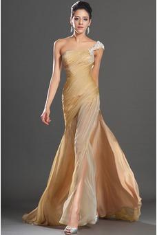 Robe habillée pour mariage Taille chute Mousseline Sirène Épaule Asymétrique Au Drapée