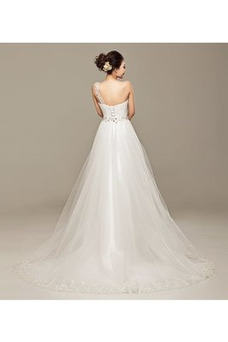 Robe de mariée Mince Ruché Haut Bas De plein air Elégant Asymétrique