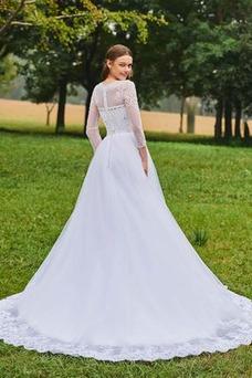 Robe de mariée Hiver A-ligne Fourreau Avec Bijoux Elégant Tulle Manche Aérienne