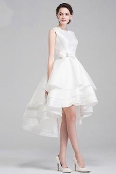 Robe de mariée Dos nu Satin Plage Asymétrique Romantique Mince