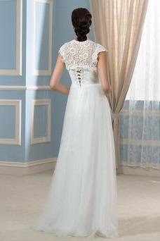 Robe de mariée Avec Jacket Taille Empire Empire Manche Courte Chic
