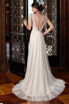 Robe de mariée Empire Milieu Manquant Appliques Col Bateau Mousseline