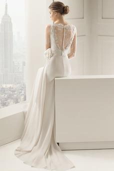 Robe de mariée Longue Fleurs Tissu Dentelle Modeste Gaze Manquant