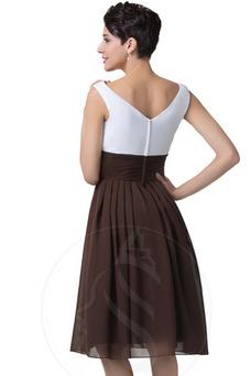 Robe de fête Longueur Genou A-ligne Sans Manches Taille Naturel
