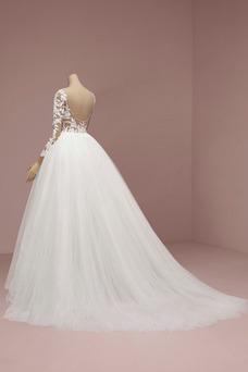 Robe de mariée Manche Longue Traîne Courte De plein air Col Bateau