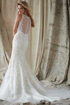 Robe de mariée Printemps Sirène Haute Couvert Appliques Sans Manches