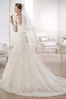 Robe de mariée Sirène Dentelle Col Bateau Haute Couvert Classe 3/4 Manche