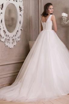 Robe de mariée Tulle Taille Naturel Traîne Mi-longue Perle Sans Manches