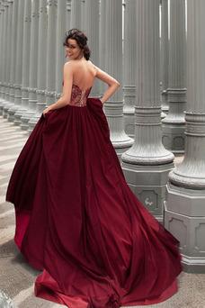 Robe de mariée Ruché Traîne Longue Col en Cœur Romantique Lacet Sans Manches
