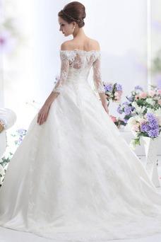 Robe de mariée Lacet Appliques 3/4 Manche Tissu Dentelle Taille Naturel