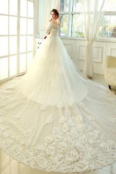 Robe de mariée Automne Lacet Taille Naturel Sage Traîne Royal Dentelle