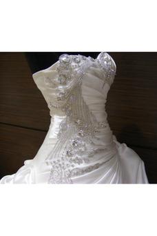 Robe de mariée Vintage Cristal Traîne Mi-longue Col en Cœur Fourreau Superposé