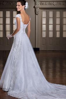 Robe de mariée Appliques Lacet Avec voile Manche Courte Printemps