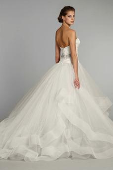 Robe de mariée Sans Manches Gradins Mode de Bal Col en Cœur Printemps
