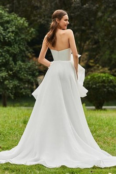 Robe de mariée Taille Naturel Orné de Nœud à Boucle Plage Longue Automne
