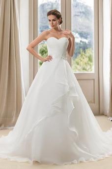 Robe de mariée Salle Taille Naturel Sans Manches Longue Dos nu Col en Cœur