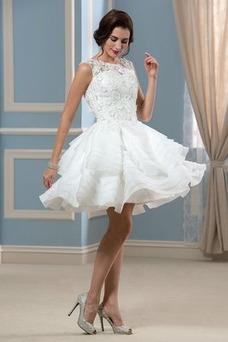 Robe de mariée Longueur Genou Printemps A-ligne Sans Manches Couvert de Dentelle