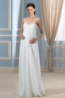 Robe de mariée Elégant Zip Mousseline Printemps Traîne Courte Col en Cœur