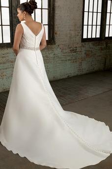 Robe de mariée Col en V Longueur ras du Sol Perle Blanche Princesse