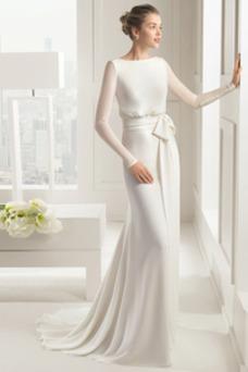 Robe de mariée Fourreau Col Bateau Plage Au Drapée Romantique Manche Longue