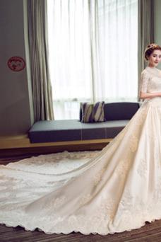 Robe de mariée Salle Broderie Automne Satin Lacet Col haut