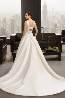 Robe de mariée Taille Naturel A-ligne Appliques Milieu Longue Satin
