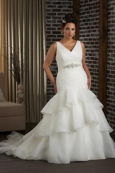 Robe de mariée Col en V Lacet Salle Organza Taille Naturel Sans Manches