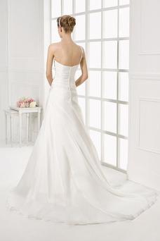 Robe de mariée Épaule Asymétrique Taille chute Satin Automne Simple