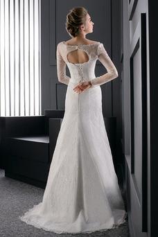Robe de mariée Longue Fourreau Lacet Printemps Manche Longue Tissu Dentelle