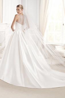Robe de mariée Salle Zip Taille Naturel Satin Col ras du Cou Automne