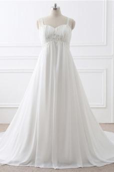 Robe de mariée Grandes Tailles Automne Perle Empire Plage Taille Empire