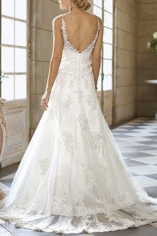Robe de mariée Appliques Taille Empire Bretelles Spaghetti Satin Salle
