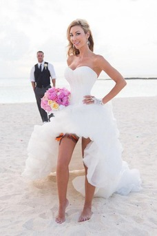 Robe de mariée Plage Asymétrique Organza Informel Printemps Ouverture Frontale