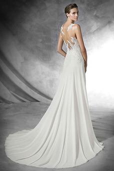 Robe de mariée Fourreau Ouverture Latérale Mousseline Avec voile Longue