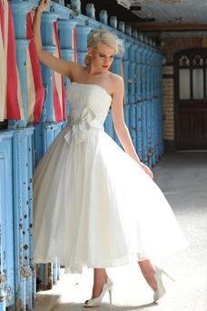 Robe de mariée Longueur Mollet A-ligne De plein air Taille Naturel