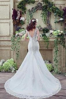 Robe de mariée Dos nu Longue Taille Naturel Satin Appliques Couvert de Dentelle
