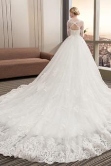 Robe de mariée Tulle A-ligne 3/4 Manche Printemps Trou De Serrure