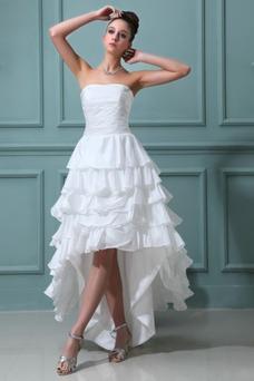 Robe de mariée Taffetas Asymétrique Balançoire Ruchés Plongeants Zip