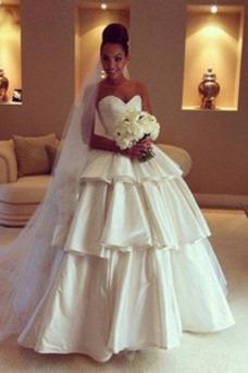 Robe de mariée Taille Naturel Col en Cœur Gradins Zip Manquant Taffetas