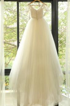 Robe de mariée Épaule Dégagée Taille Naturel Mancheron Appliques Traîne Moyenne