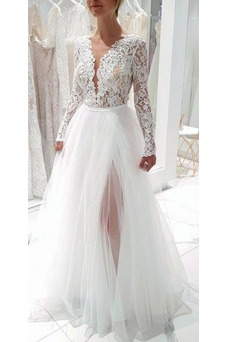 Robe de mariée Vintage Tissu Dentelle Thigh-High Slit Manquant A-ligne