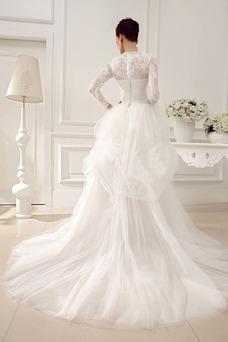Robe de mariée Tissu Dentelle Asymétrique Col ras du Cou Eglise Hiver