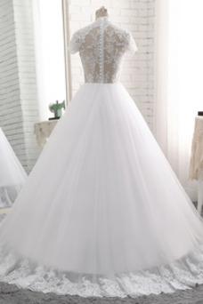 Robe de mariée Couvert de Dentelle A-ligne Manche Courte Sage Printemps