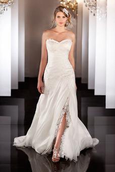 Robe de mariée Sans Ceinture Satin Plissé A-ligne Zip Col en Cœur
