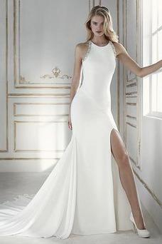 Robe de mariée Dos nu Col ras du Cou Satin Fourchure Frontale Romantique