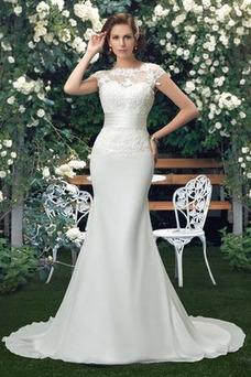 Robe de mariée Dos nu Elégant Manche Aérienne Fourreau Taille Naturel