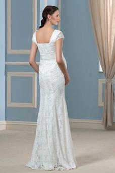 Robe de mariée Simple Empire Col Carré Taille Empire Grossesse Tissu Dentelle