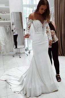 Robe de mariée Traîne Courte Manquant Satin Manche Longue Épaule Dégagée